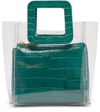 Staud - Mini Shirley Pvc And Leather Tote Bag - Womens - Dark Green