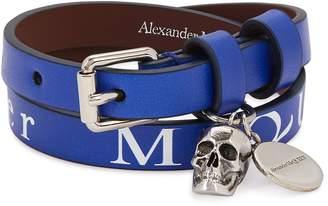 Blue Logo-print Leather Wrap Bracelet
