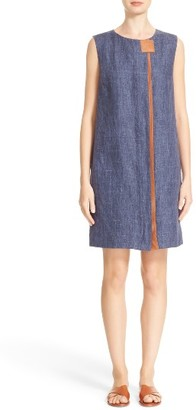 Women's Lafayette 148 New York Dominic Leather Trim Dress $648 thestylecure.com