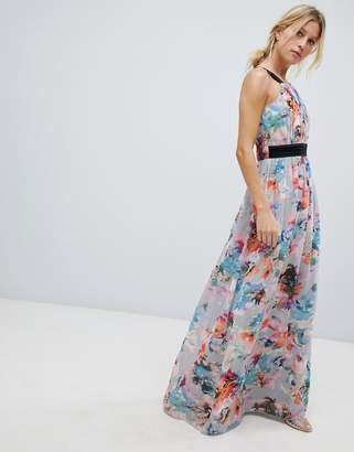 Little Mistress high neck maxi dress in full bloom print
