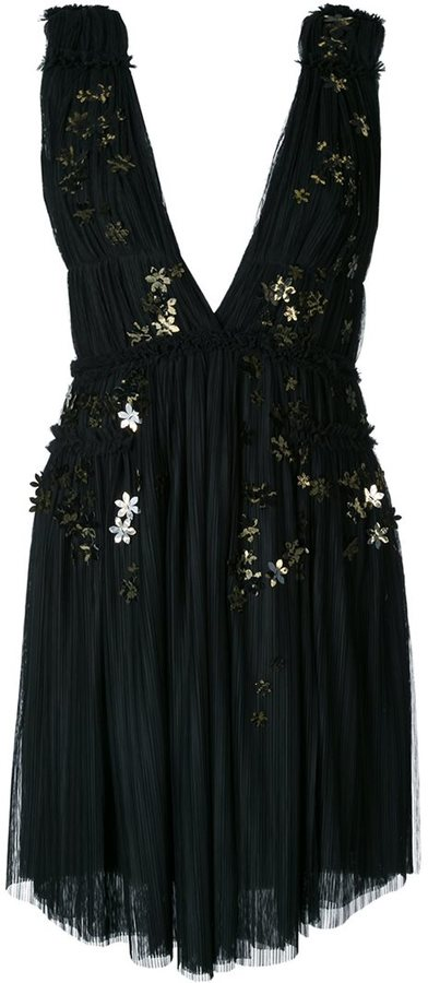 Jay Ahr gold-tone flower appliqué dress