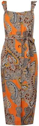 Dorothy Perkins Womens Petite Multi Coloured Paisley Print Midi Shift Dress