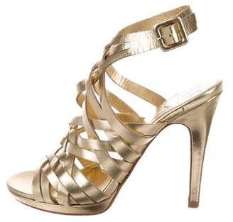 Diane von Furstenberg Metallic Leather Sandals