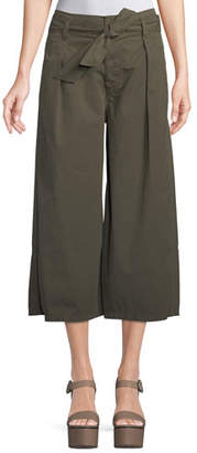Velvet Arisa Wide-Leg Crop Cotton-Twill Pants