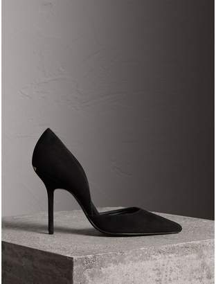Burberry Point-toe Suede D'Orsay Pumps , Size: 41, Black