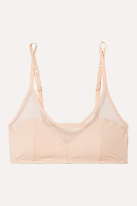 Skin - Oralie Stretch Organic Pima Cotton-jersey Tulle Soft-cup Bra - Pastel pink