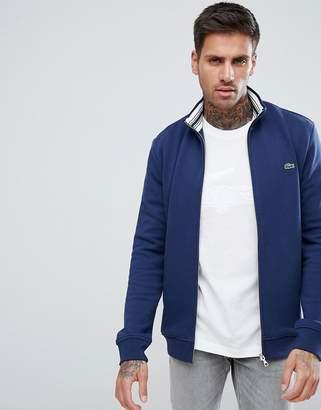 Lacoste Pique Zip Through Sweater In Navy