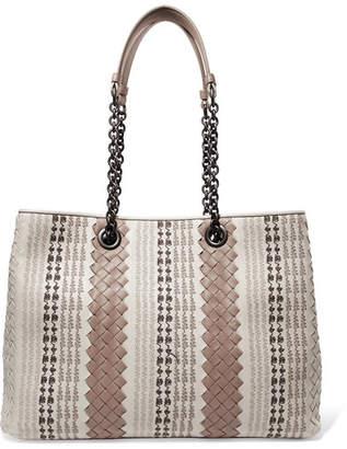 Bottega Veneta Small Embroidered Intrecciato Leather Shoulder Bag - Gray