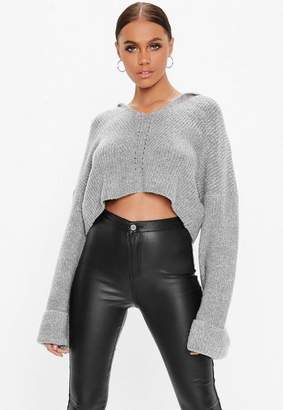 Missguided Tall Grey V Neck Cropped Knit Co Ord Hoodie