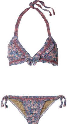 LoveShackFancy Bria Crochet-trimmed Floral-print Cotton Bikini - Blue