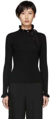 RED Valentino Black Ribbed Wool Turtleneck