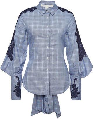Jonathan Simkhai Cotton Plaid Lace Tieback Shirt