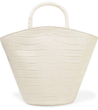 Loeffler Randall Agnes Fan Croc-effect Leather Tote - Off-white