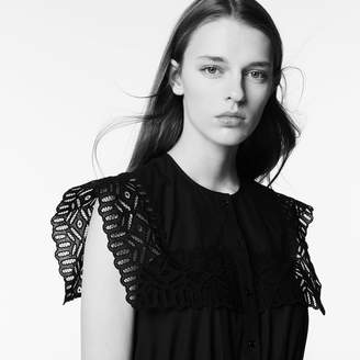 Sandro Mid-length cotton dress with lace inset