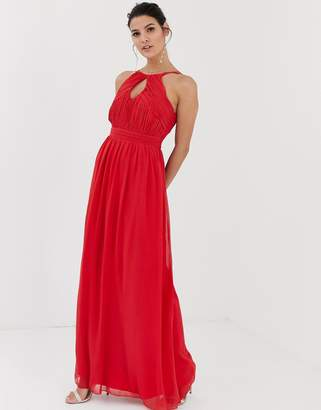 Little Mistress keyhole pleated bodice maxi dress with ruched waist and double straps