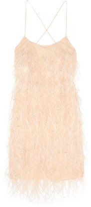 Michael Kors Collection - Feather-embellished Chantilly Lace Mini Dress - Peach $3,695 thestylecure.com