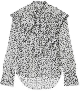 Veronica Beard Finley Pussy-bow Floral-print Silk-chiffon Blouse