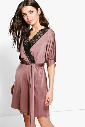 boohoo Maeve Lace Trim Short Sleeved Wrap Dress $37 thestylecure.com
