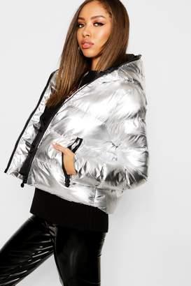 boohoo Metallic Hood Zip Padded Jacket