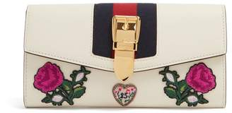 Gucci Sylvie floral-appliqué leather wallet
