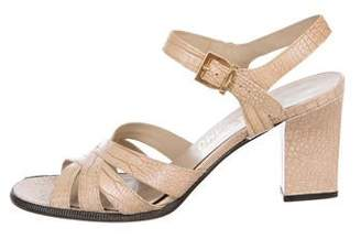 Salvatore Ferragamo Embossed Ankle Strap Sandals