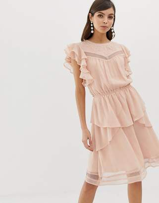 Y.A.S Ruffle Skater Dress With Lace