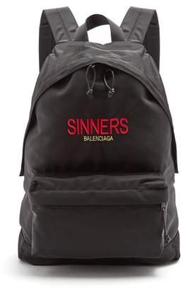 Balenciaga - Explorer Logo Embroidered Canvas Backpack - Mens - Black