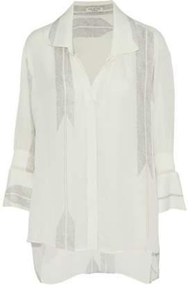 Halston Printed Silk-Blend Crepe De Chine Shirt