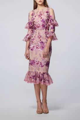 David Meister Floral Midi Dress