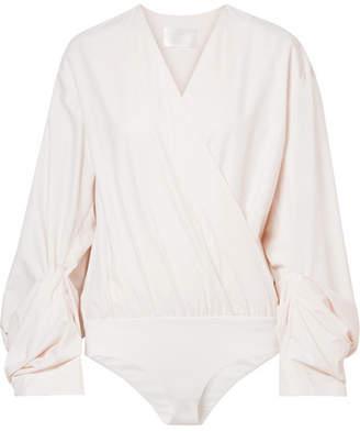 SOLACE London Odeta Wrap-effect Cotton-blend Jacquard And Stretch-jersey Bodysuit - Cream