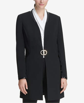 DKNY Topper Jacket With Faux-Leather Trim