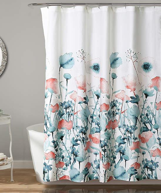 Blue & Coral Zuri Flora Shower Curtain