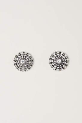 H&M Round Rhinestone Earrings - Magenta - Women