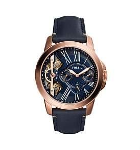 Fossil Grant Blue Leather And Stainless Steel Watch
