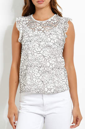 Three Dots Lace Flounce Slv Top