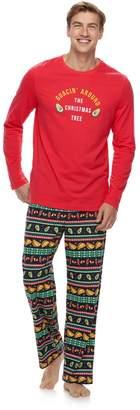 """Men's Jammies For Your Families """"Guacin' Around the Christmas Tree"""" Top & Holiday Taco Party Fairisle Bottoms Set"""