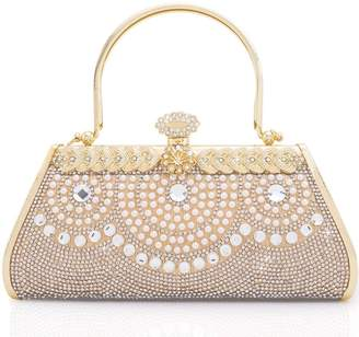 LONGBLE Women Clutch Bag Rhinstone and Artificial Pearls Decorative Sparkling Vintage Classic Evening Shoulder Bag Girls Ladies Elegant Compact Handbag Purse Fr Weddings Party Ceremony Hard Cover