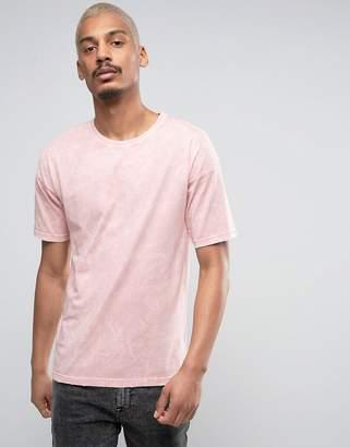 Black Kaviar Oversized T-Shirt In Pink Acid Wash