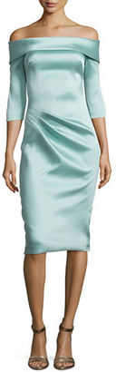 Theia Stretch Satin Off-the-Shoulder Cocktail Dress $495 thestylecure.com