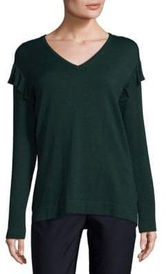 Calvin Klein V-neck Ruffle Sweater