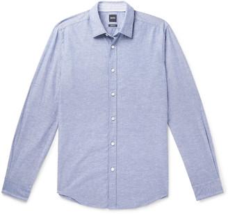HUGO BOSS Lukas Cotton and Linen-Blend Shirt - Men - Blue