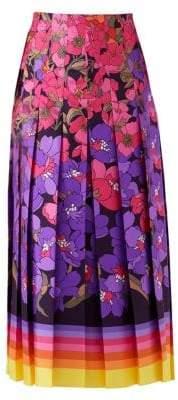 Gucci Silk Twill Floral Pleated Midi Skirt