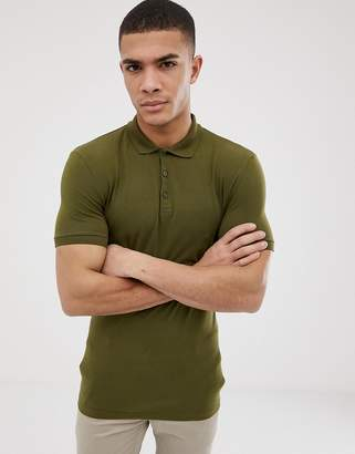 Asos DESIGN muscle fit jersey polo in green