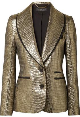 Rachel Zoe Becca Grosgrain-trimmed Metallic Croc-effect Jacquard Blazer - Gold