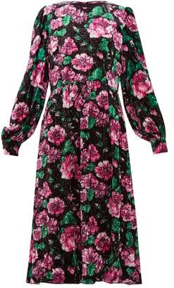 Marc Jacobs Rose Print Crinkle Velvet Balloon Sleeve Dress - Womens - Black Print