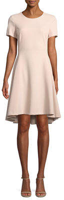 Donna Karan Short-Sleeve A-Line High-Low Dress