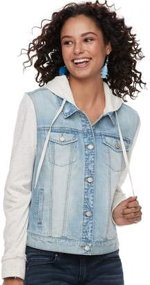 Mudd Juniors' Hooded Knit Sleeve Jean Jacket
