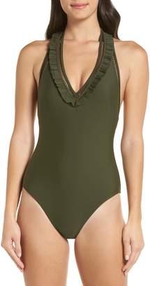 Ted Baker Blanna Deep-V Ruffle One-Piece Swimsuit
