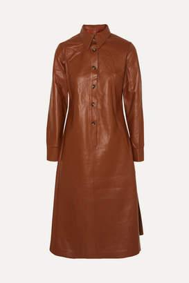 Dodo Bar Or Paya Leather Midi Dress - Red
