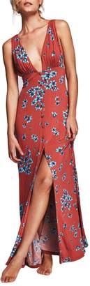 CA Mode Women Floral Print Cotton Plunging Neckline Summer Beach Swing Maxi Dress